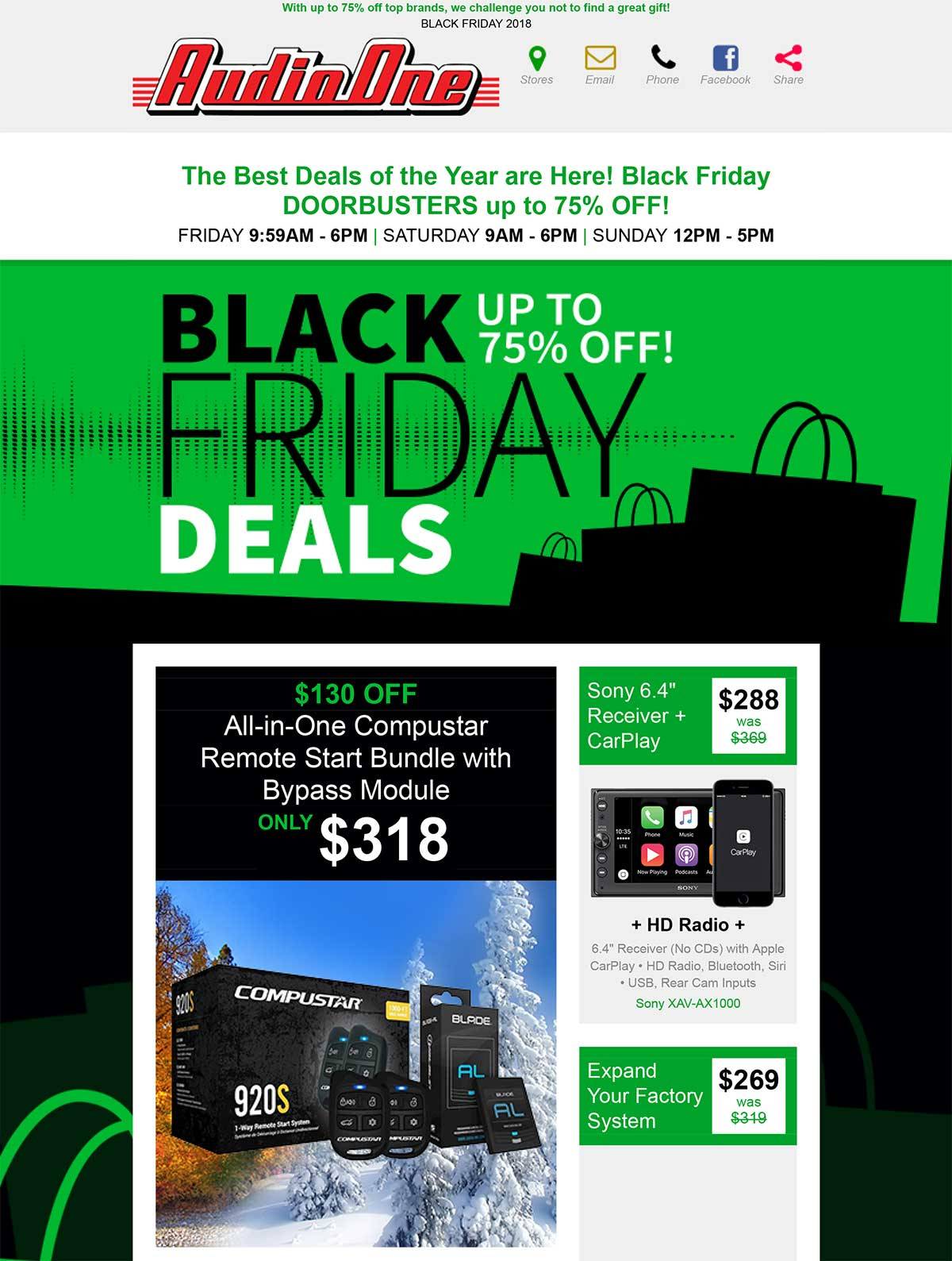 Black Friday Sale 2018 Audio One Car Audio Video Security Solution